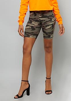 Camo Print Super Soft High Waisted Bike Shorts