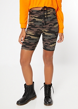 Camo Print Super Soft High Waisted Bike Shorts