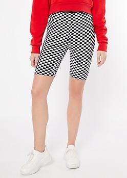 Checkered Print Super Soft High Waisted Bike Shorts