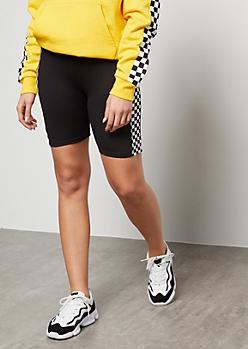 Black Checkered Print Side Striped Super Soft Bike Shorts