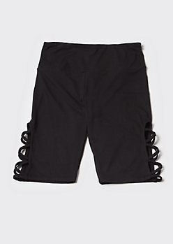 Black Super Soft Lattice Bike Shorts