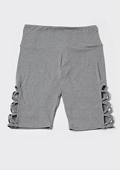 Gray Super Soft Lattice Bike Shorts