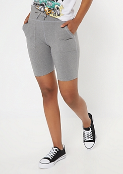 Gray Utility Pocket Bike Shorts