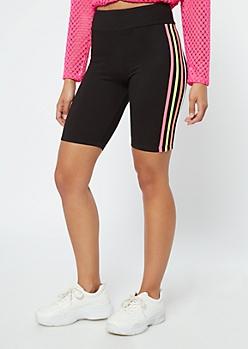 Black Super Soft Side Striped Bike Shorts