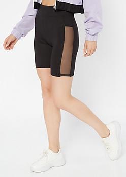 Black Super Soft Mesh Side Bike Shorts