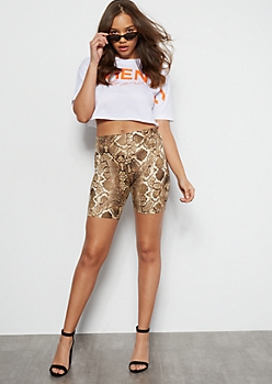 Snakeskin Mid Rise Super Soft Bike Shorts