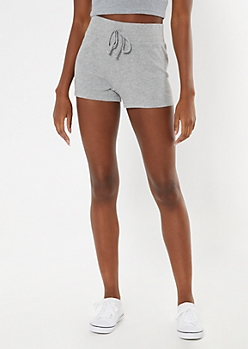 Heather Gray Ribbed Super Soft Hacci Shorts