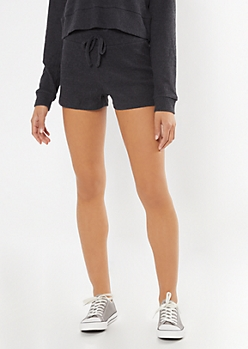 Charcoal Gray Ribbed Super Soft Hacci Shorts