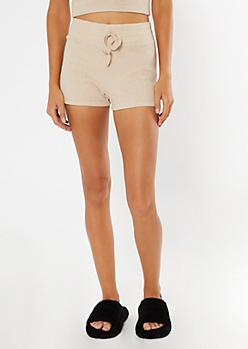 Taupe Ribbed Super Soft Hacci Shorts