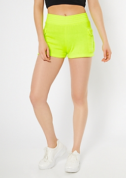 Neon Yellow Fleece Cargo Shorts