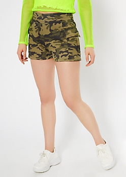 Camo Print Fleece Cargo Shorts