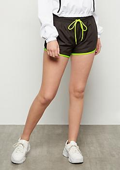 Black Neon Contrast Trim Nylon Shorts