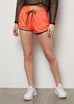Neon Coral Contrast Trim Nylon Shorts