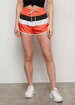 Neon Coral Colorblock Nylon Shorts