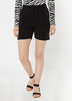 Black Longline Fleece Active Shorts