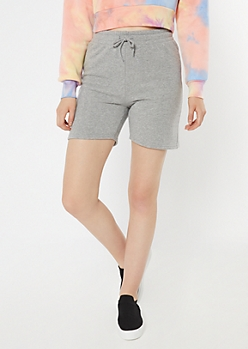 Heather Gray Longline Fleece Active Shorts