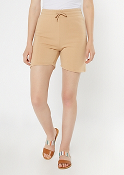 Tan Longline Fleece Active Shorts