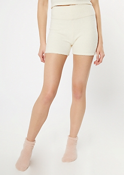 Ivory Cozy Teddy Shorts