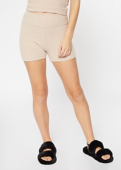 Tan Cozy Teddy Shorts