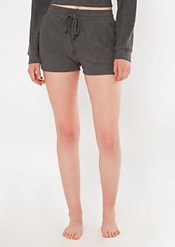 Charcoal Gray Hacci Knit Lounge Shorts