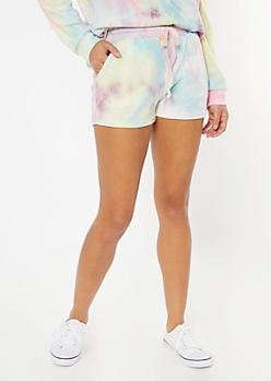 Pastel Tie Dye Hacci Knit Lounge Shorts