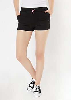 Black Neon Waist Active Shorts
