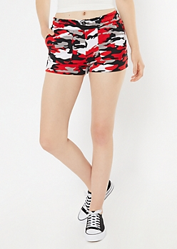 Red Camo Print Active Shorts