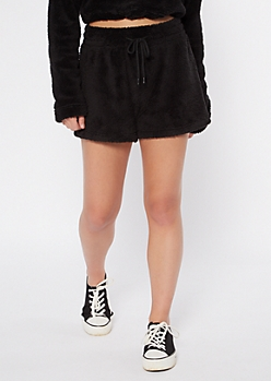 Black Sherpa Sleep Shorts