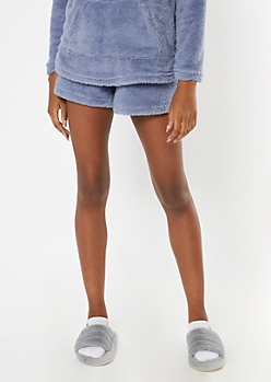 Blue Cozy Sherpa Shorts