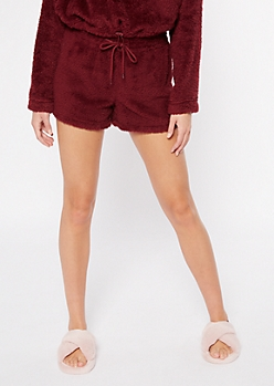 Burgundy Sherpa Sleep Shorts