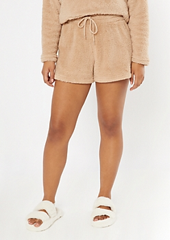 Tan Sherpa Sleep Shorts