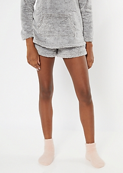 Ice Gray Sherpa Sleep Shorts