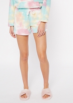 Cotton Candy Tie Dye Sherpa Sleep Shorts