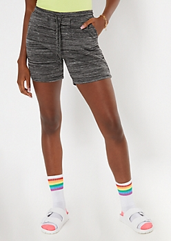 Black Space Dye French Terry Shorts