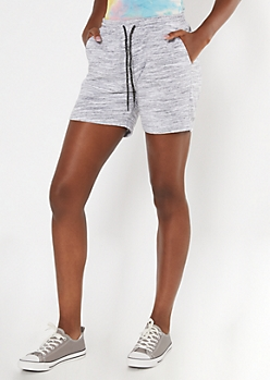 Gray Space Dye French Terry Shorts