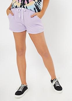 Lavender Drawstring Sweat Shorts
