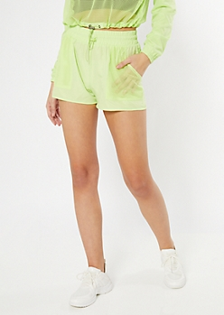 Neon Green Mesh Pocket Active Shorts