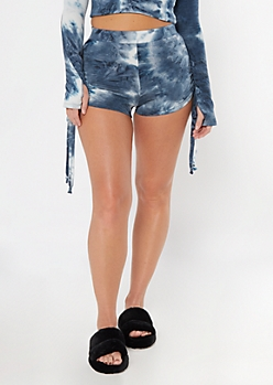 Navy Tie Dye Ruched Side Soft Shorts