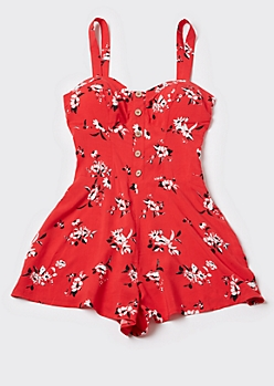 Red Floral Print Button Romper