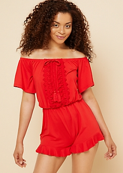 Red Off Shoulder Crochet Romper