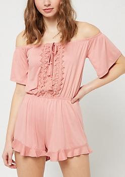 Pink Off Shoulder Crochet Romper