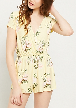 Light Yellow Floral Super Soft V Neck Romper