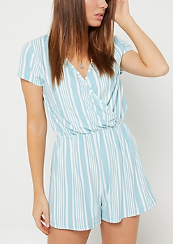 Blue Stripe Pattern V Neck Romper