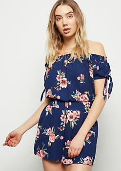 Navy Floral Print Off The Shoulder Smocked Romper