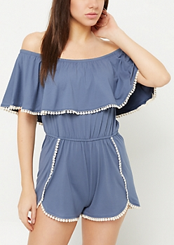 Blue Super Soft Crochet Trimmed Off Shoulder Romper