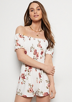 Ivory Floral Print Super Soft Puff Sleeve Romper