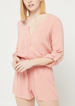 Medium Pink Zip Front Romper