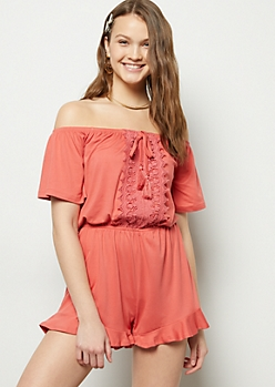 Coral Crochet Off The Shoulder Flowy Romper