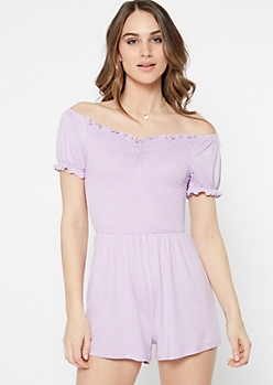 Lavender Off The Shoulder Lettuce Hem Smocked Romper