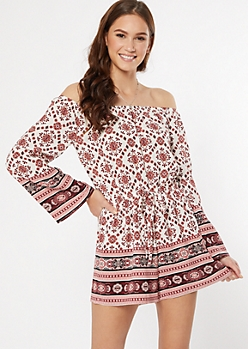 Burgundy Border Print Off The Shoulder Romper